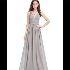 EverPretty Women's Gray Chiffon Maxi Dress Size 14